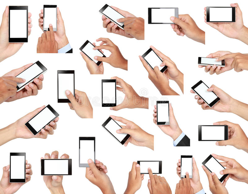 Set of hand holding mobile smart phone with blank screen stock photos