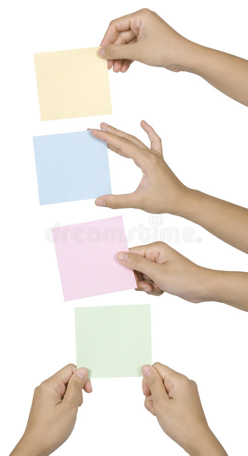 Set Of Hand Holding Note stock image