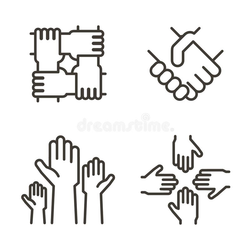Set of hand icons representing partnership, community, charity, teamwork, business, friendship and celebration. Vector icon. Set of hand icons representing royalty free illustration