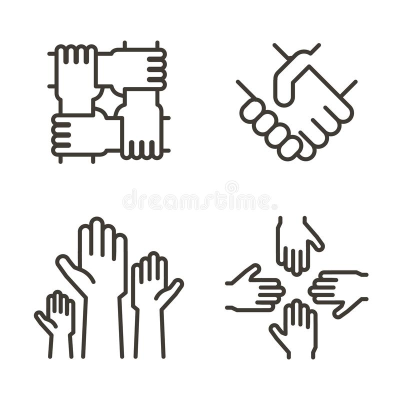 Set of hand icons representing partnership, community, charity, teamwork, business, friendship and celebration. Vector icons. Set of hand icons representing royalty free illustration