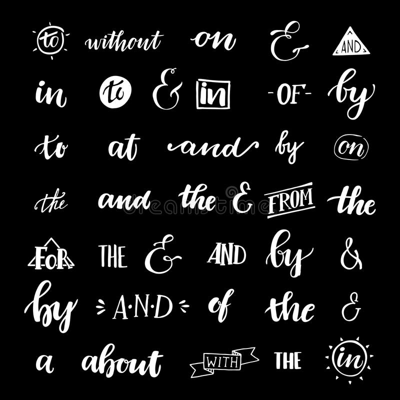Set of hand lettered ampersands and catchwords. Design elements for invitations, greeting cards, quotes, blogs, posters and more. Vector royalty free illustration