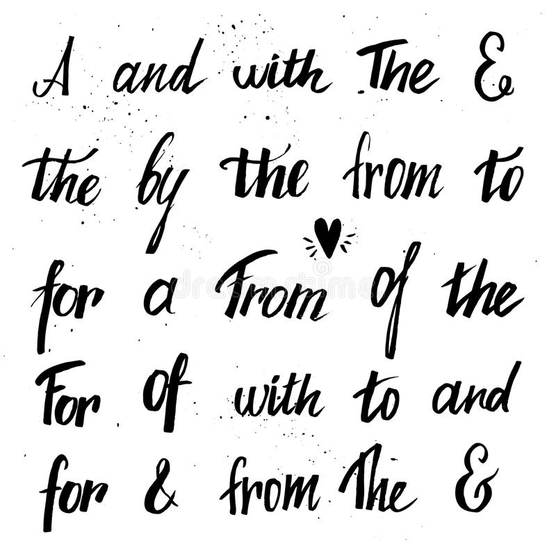 Set of hand lettered ampersands and catchwords. ( at, to, for, the, of, with, by, and, from) . Design elements for invitations, greeting cards, quotes, blogs vector illustration