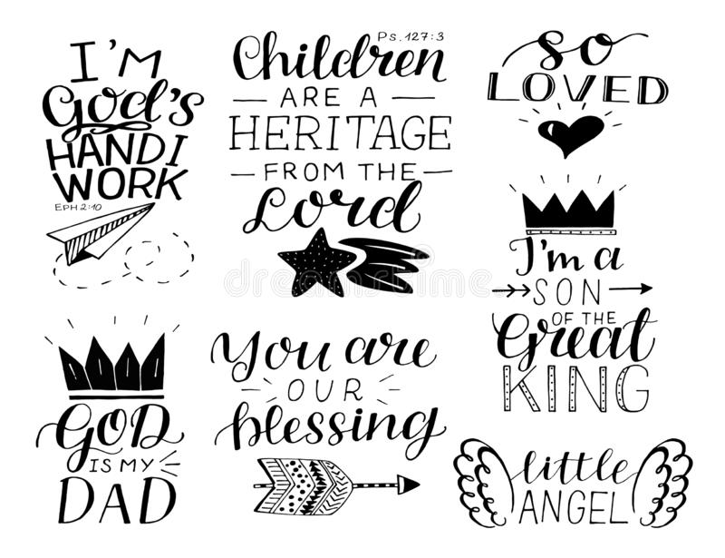 Set of 7 hand lettering baby quotes So loved, , You are our blessing. God is my Dad. Christian poster. Card. Scripture print. Motivational quote vector illustration
