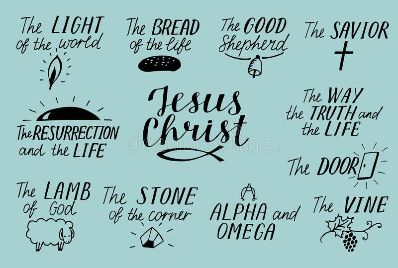Set of 11 Hand lettering christian quotes about Jesus Christ. Savior. Door. Good Shepherd. Way, truth, life. Alpha and Omega. Lamb royalty free illustration