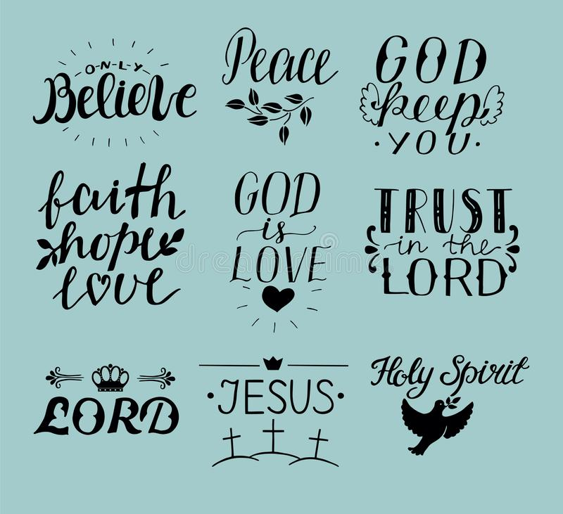 Set of 9 Hand lettering christian quotes Jesus. Holy Spirit. Trust the Lord. Peace. Only believe. Faith. hope. God is love. vector illustration