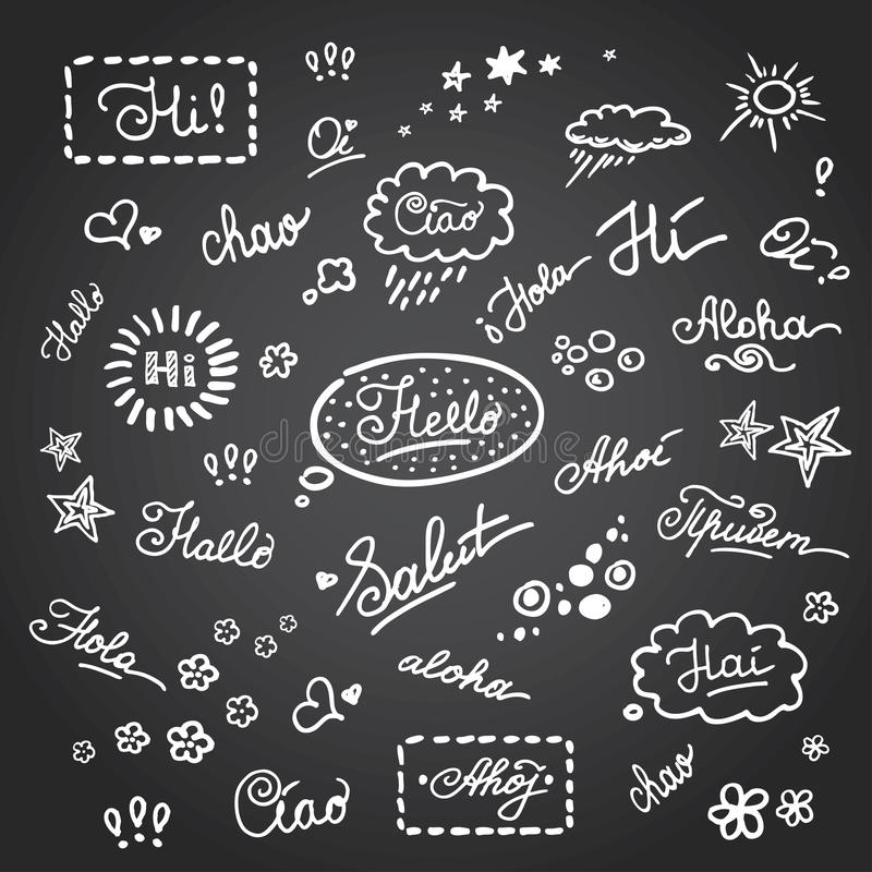 Hand lettering Hello on different languages royalty free illustration