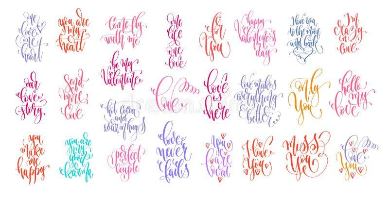 Set of 25 hand lettering inscription for valentines day design vector illustration