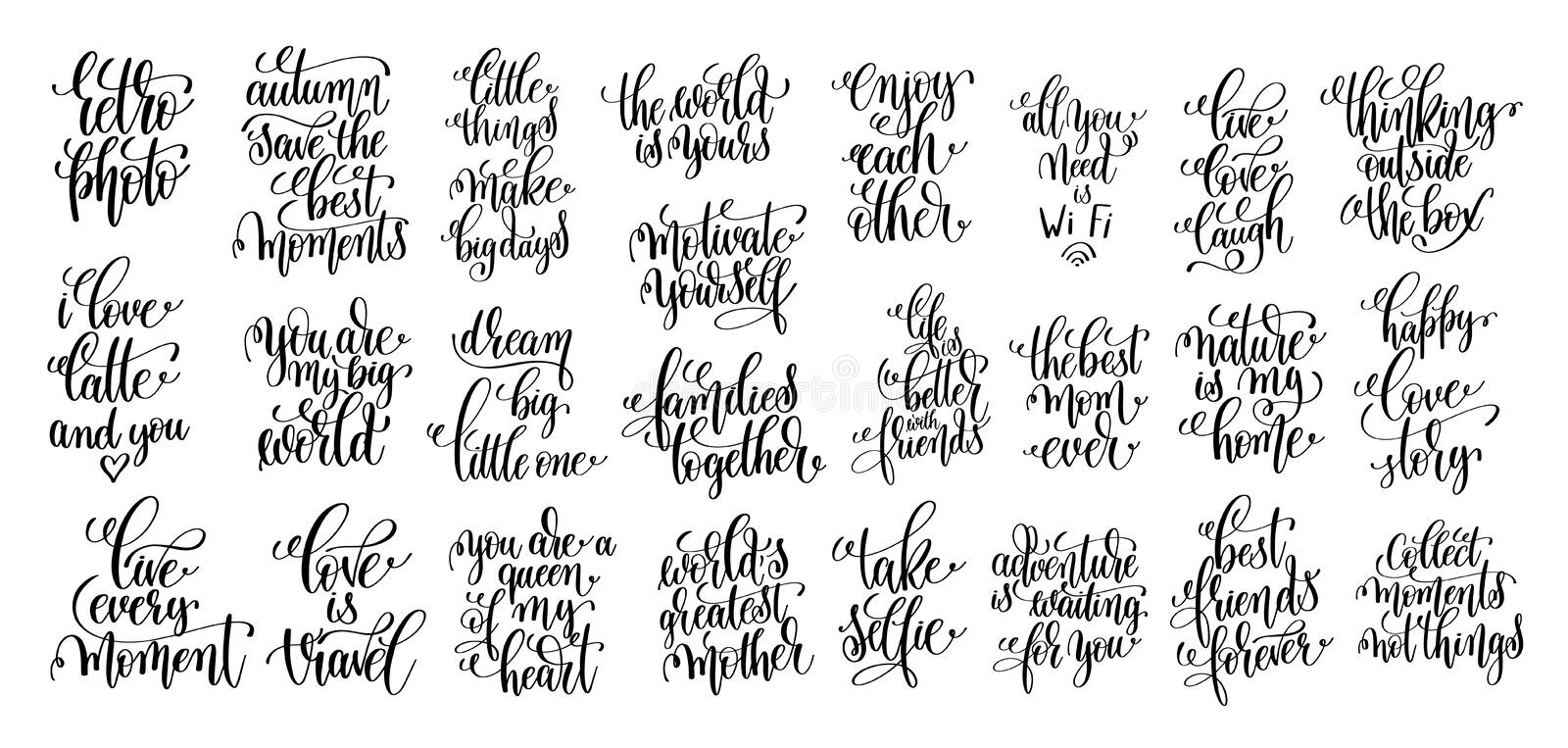 Set of 25 hand lettering motivational and inspirational quotes p. Oster, calligraphy vector illustration collection stock illustration
