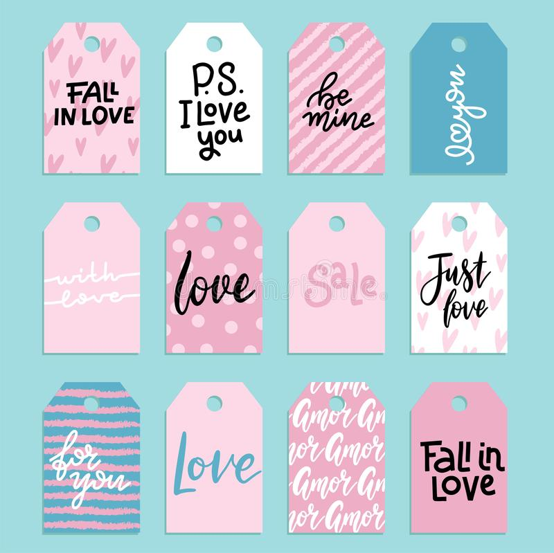 Set of hand lettering phrases Be mine, Fall In Love etc on labels or tags. February 14 vactor calligraphy. Valentines. Day typography for cards royalty free illustration
