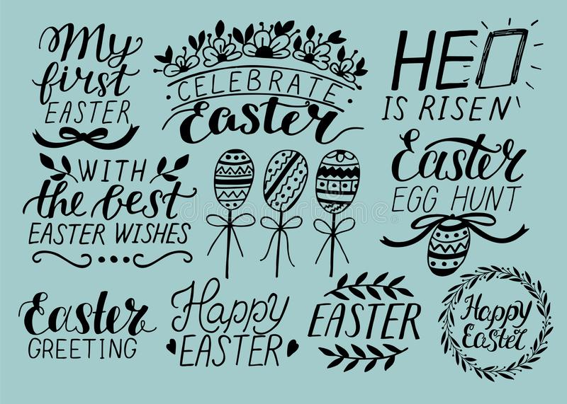 Set of 9 hand lettering about Easter. He is risen. Egg hunt. Celebrate. stock illustration