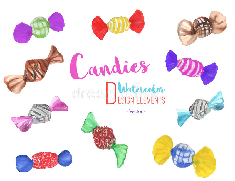Set of hand painted watercolor candies, vector royalty free illustration