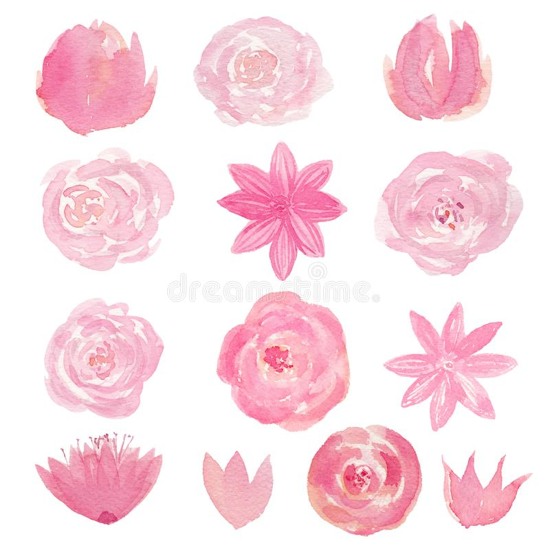 Set of hand painted watercolor flowers in pink color. Isolated clipart for wedding, invitations, blogs, template card stock illustration