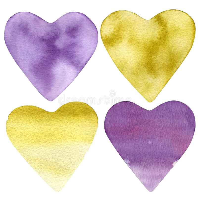 Set of hand painted watercolor hearts. Isolated objects perfect for Valentine`s day card or romantic post cards - Illustration stock images