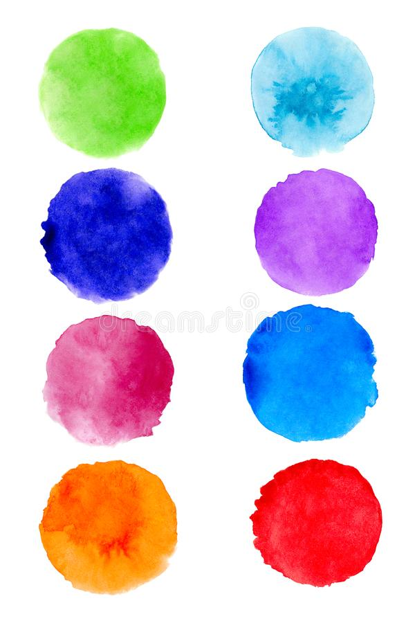 Set of hand painted watercolor textured round backgrounds isolated on white. Collection of multicolor brush strokes.  vector illustration