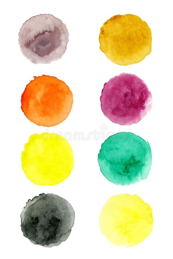 Set of hand painted watercolor textured round backgrounds isolated on white. Collection of multicolor brush strokes.  stock illustration