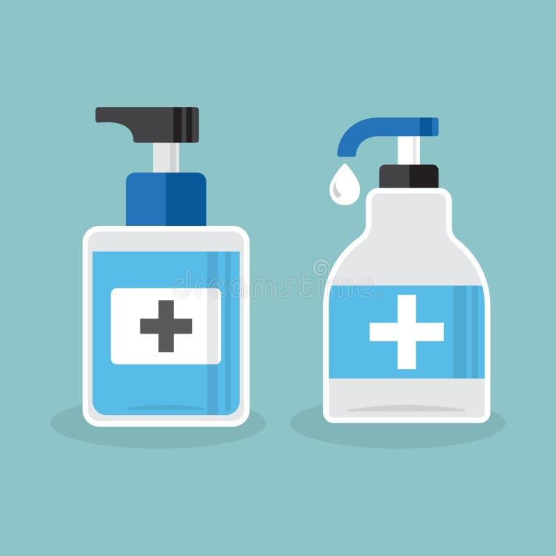 Set of hand sanitizer bottles, washing gel. Vector illustration royalty free illustration