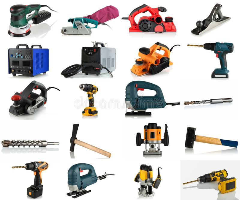 Set of hand tools, power tools, welding equipment. On white background royalty free stock photography