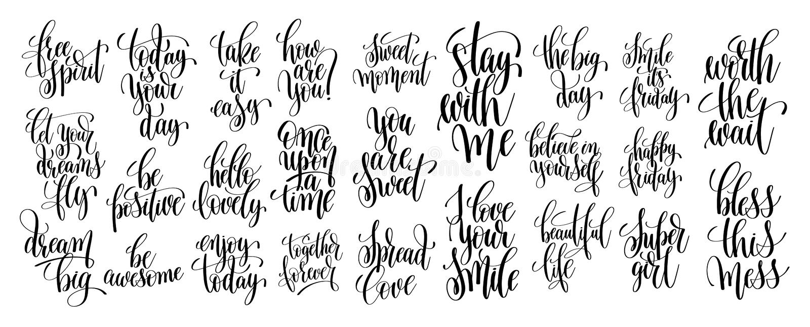 Set of 25 hand written lettering motivational quotes. Handwritten positive phrases to print, inspirational typography slogans, calligraphy vector illustration stock illustration