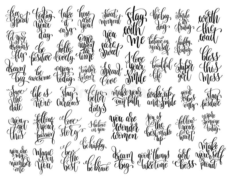 Set of 50 hand written lettering motivational quotes. Handwritten positive phrases to print, inspirational typography slogans, calligraphy vector illustration stock illustration