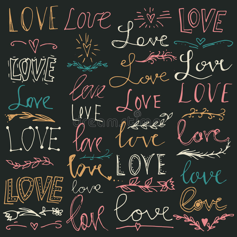 Set of hand-written words. Love lettering. Vector text for your design. vector illustration