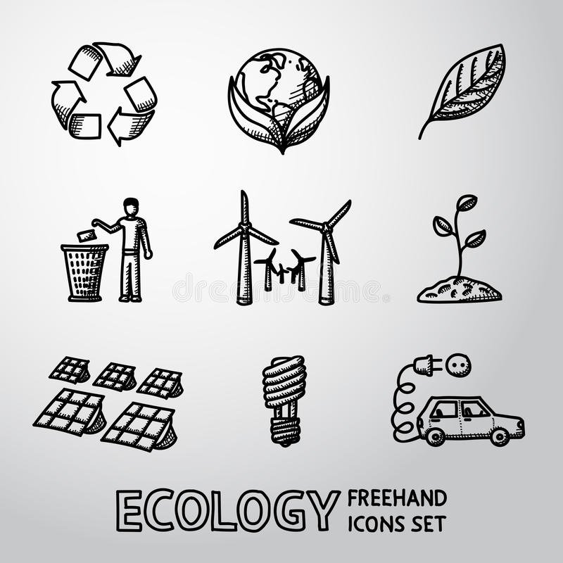 Set of handdrawn ECOLOGY icons - recycle sign vector illustration