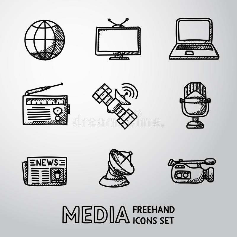 Set handdrawn medialne ikony - wiadomość, radio, tv royalty ilustracja