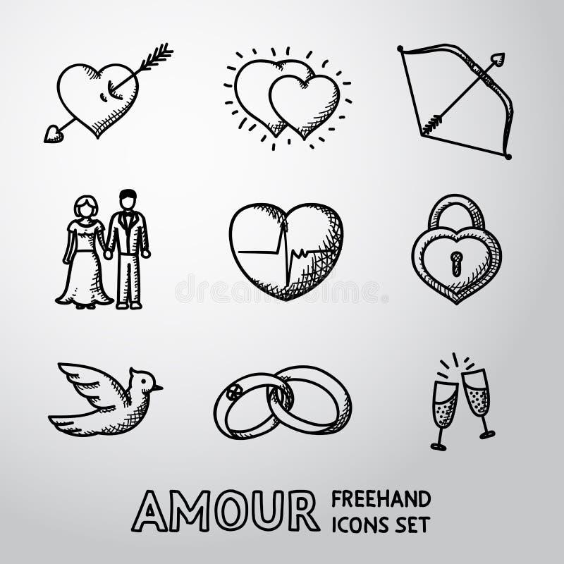 Set handdrawn miłość, Amour ikony - serce z royalty ilustracja