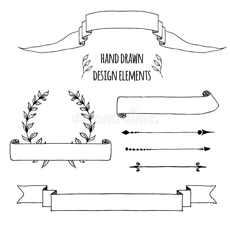 Set handdrawn roczników elementy Faborki, strzały, laurowy wianek, stron deviders Ręka rysująca kreślącą, wektor ilustracji