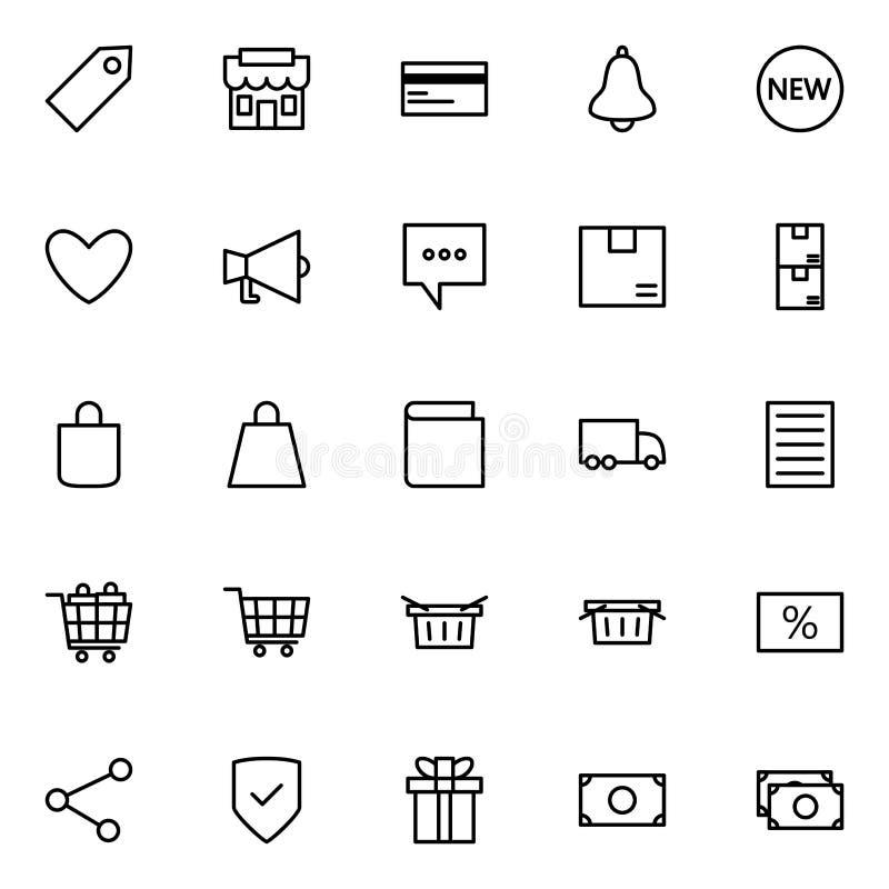 Set handel elektroniczny linii ikony na białym tle dla jakaś okazji, royalty ilustracja