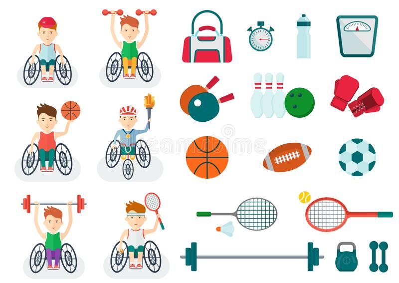 Set of handicapped athlete on a wheelchair with sports equipment stock illustration