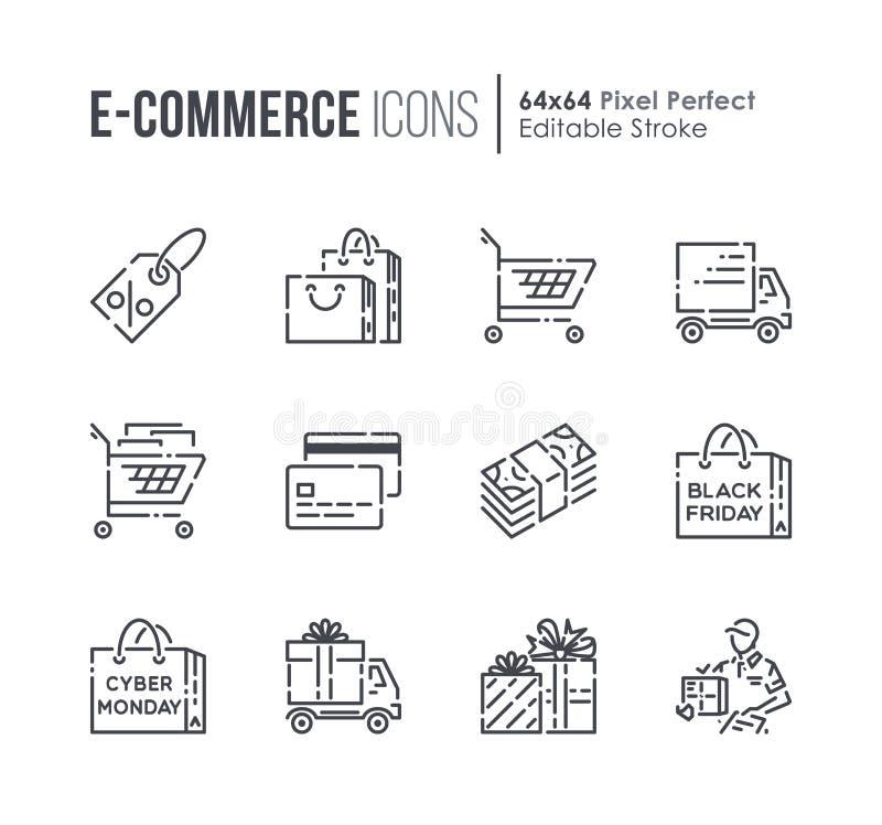 Set handlu elektronicznego i zakupy wektor wykłada ikony royalty ilustracja