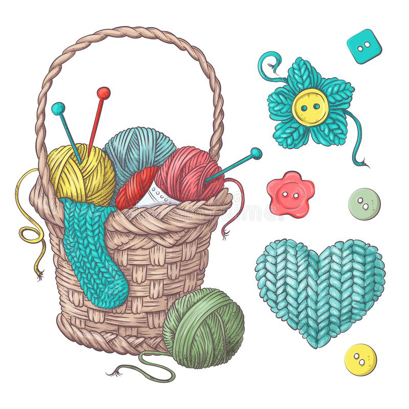 Set for handmade basket with balls of yarn, elements and accessories for crochet and knitting. stock illustration