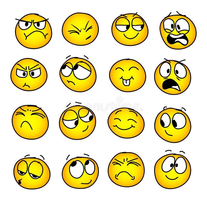Set handmade emoticons, emocja, uczucia, doświadczenie dla ikon ilustracji