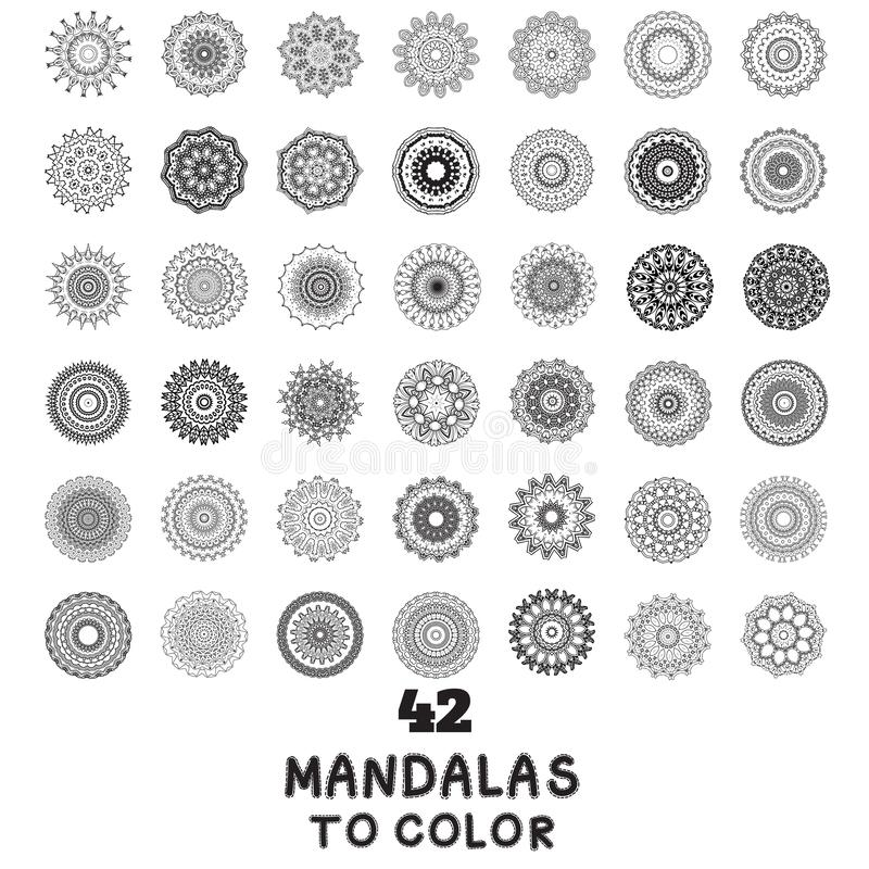 Set of handmade mandala pattern stock illustration