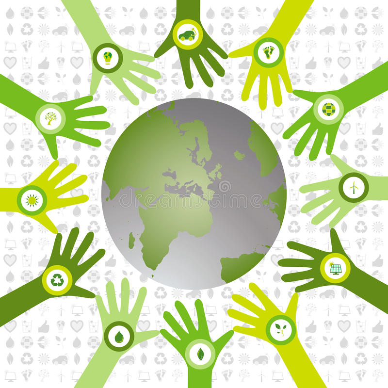 Set of hands with bio icons waiving to green environmental world stock photo
