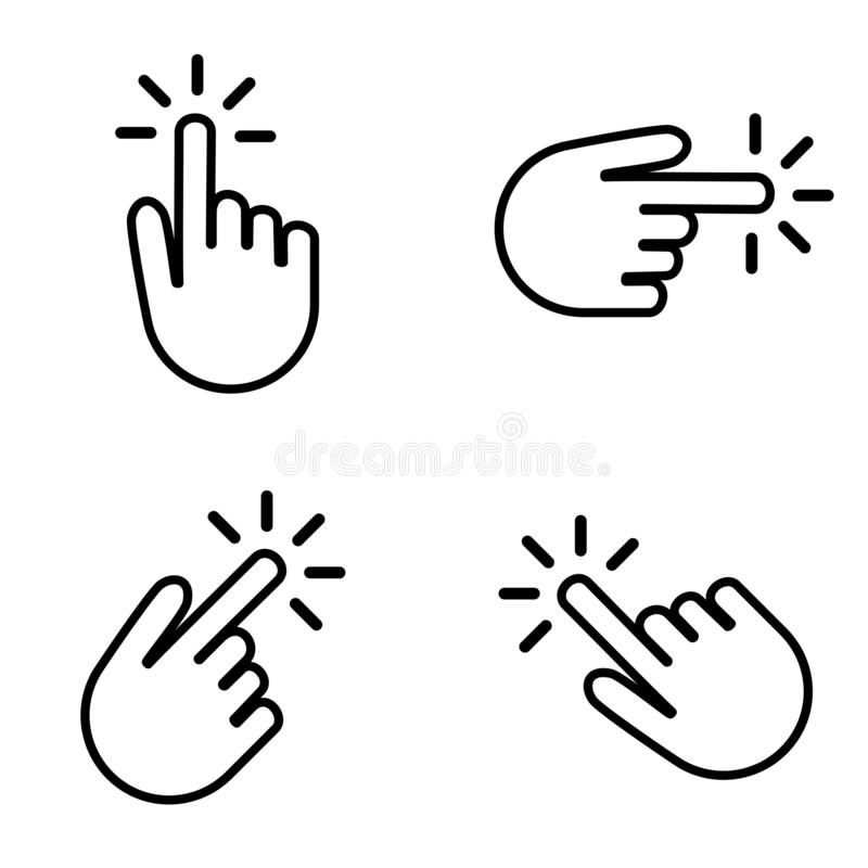 Set of hands clicking on your button stock illustration