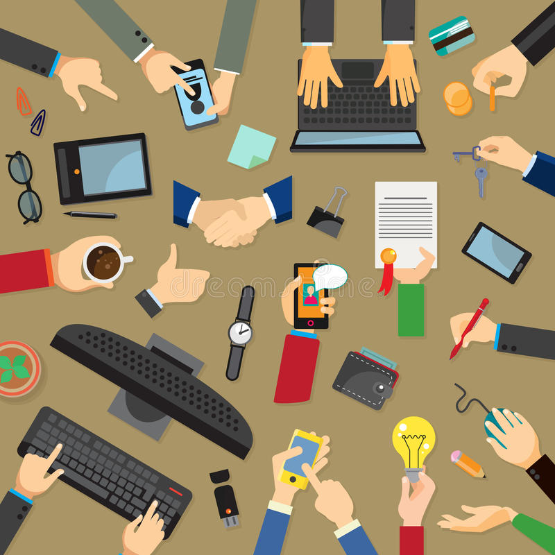Set with hands and devices royalty free illustration