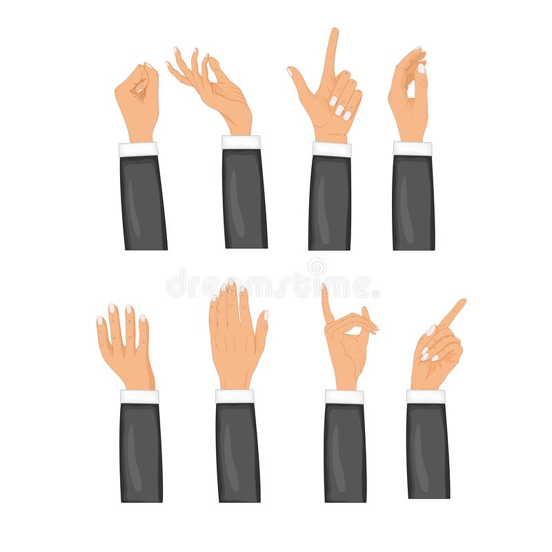 Set hands in different gestures isolated on white background. Colored hand gesture set with manicured nails and good vector illustration