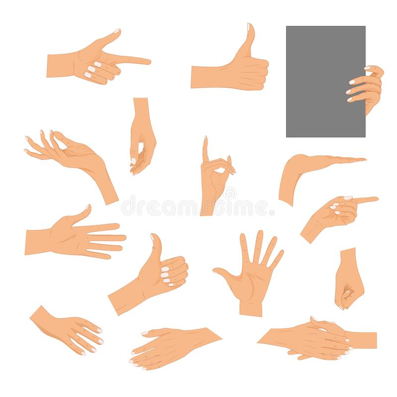 Set hands in different gestures isolated on white background. Colored hand gesture set with manicured nails and good royalty free illustration