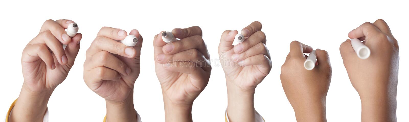 Set of Hands Holding Marker in Writing Position. Close up image set of woman& x27;s hand holding marker in writing position, isolated on white collection various stock image