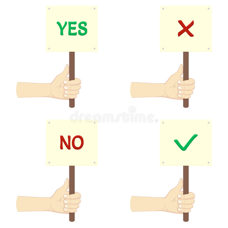 Set of hands holding plates with YES and NO royalty free illustration