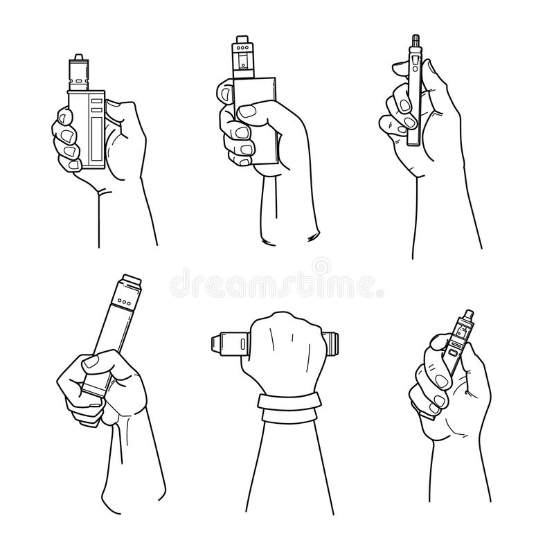 Set of hands holding vape devices. Set of hands holding cape devices and cigarette. Mechanical mods, rdta, rta and starter devices. EPS10 vector illustration