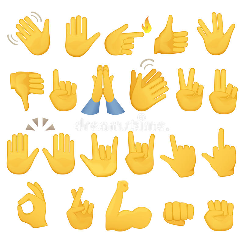 Set of hands icons and symbols. Emoji hand icons. Different gestures, hands, signals and signs, vector illustration. stock illustration