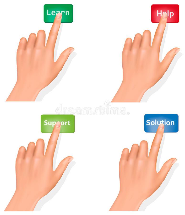 Set of hands pushing different buttons and thumb. Up. Vector royalty free illustration