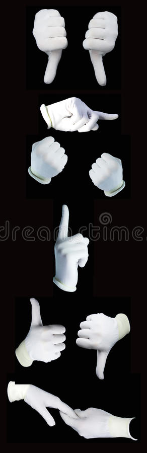 Set of hands wearing white gloves stock image