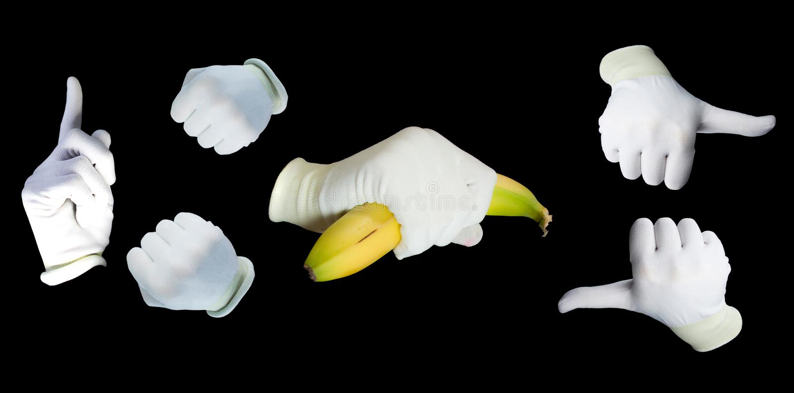 Set of hands wearing white gloves stock photo
