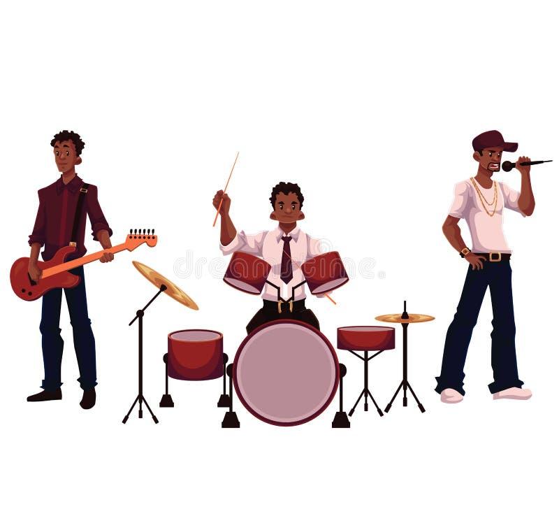 Set of handsome African male singer, drummer and guitar player royalty free illustration