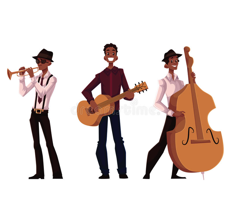 Set of handsome African male trumpet, guitar and contrabass players. Cartoon vector illustration isolated on white background. Set of full height portraits of vector illustration