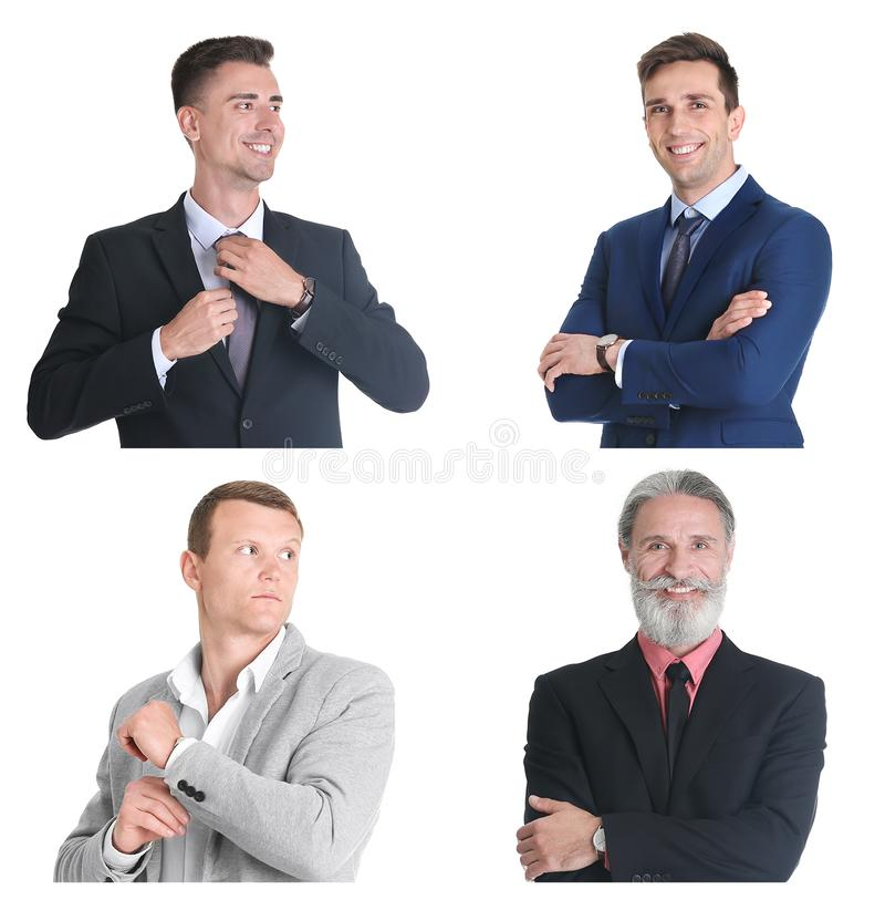 Set with handsome businessmen portraits royalty free stock photography