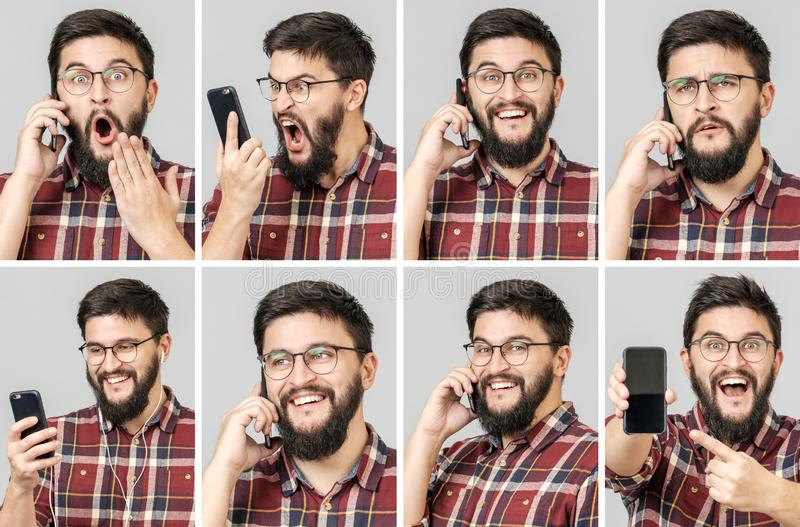 Set of handsome emotional man using mobile phone stock photos